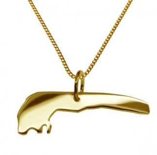 LANGEOOG Kettenanhänger aus massiv 585 Gelbgold mit Halskette