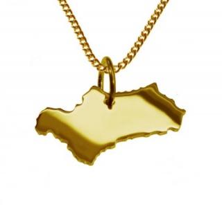 ANDALUSIEN Kettenanhänger aus massiv 585 Gelbgold mit Halskette