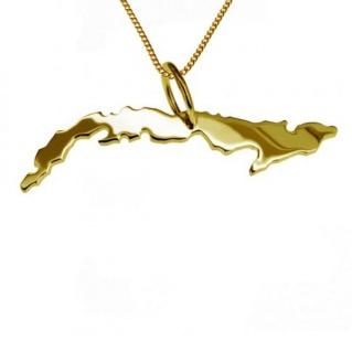 KUBA Kettenanhänger aus massiv 585 Gelbgold mit Halskette