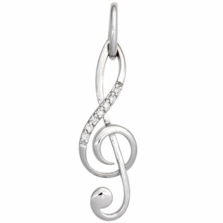 Anhänger Notenschlüssel Musik 585 Weißgold 7 Diamanten Brillanten