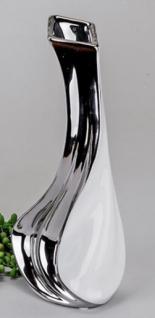 formano edle Vase in Weiß und Silber aus Keramik, 28 cm