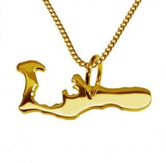 CAYMAN ISLAND Kettenanhänger aus massiv 585 Gelbgold mit Halskette