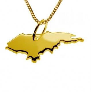 HONDURAS Kettenanhänger aus massiv 585 Gelbgold mit Halskette
