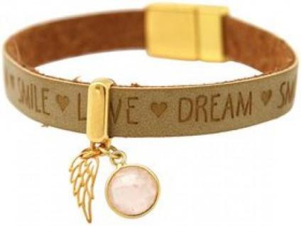 Armband Engel Flügel 925 Silber Vergoldet WISHES Braun Rosenquarz Rosa