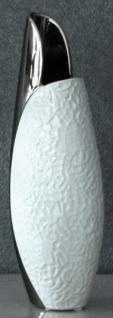 GILDE Moderne Vase aus Keramik in Weiß Silber mit Musterung, 35 cm