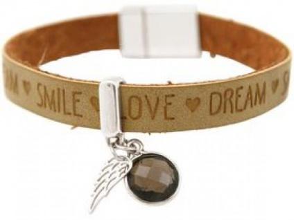 Damen Armband Engel Flügel 925 Silber WISHES Braun Sand Rauchquarz