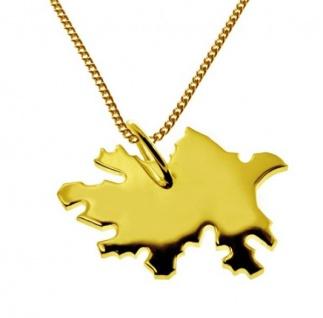 AZERBAIJAN Kettenanhänger aus massiv 585 Gelbgold mit Halskette