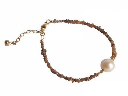 Gemshine Damen Armband Diamant Champagner Perle Weiß