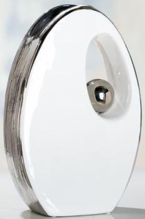 Keramik-Vase Ellise mit silberner Glasur und Silberkugel 29 cm