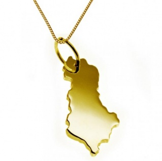 ALBANIEN Kettenanhänger aus massiv 585 Gelbgold mit Halskette