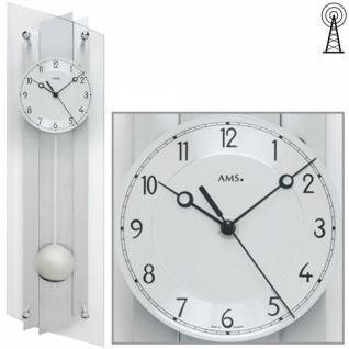 AMS 5261 Wanduhr Funk Funkwanduhr mit Pendel silbern Glas Aluminium
