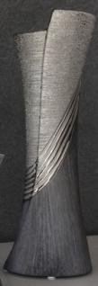 GILDE moderne Vase in Grau Silber aus Keramik, 13 x 38 cm