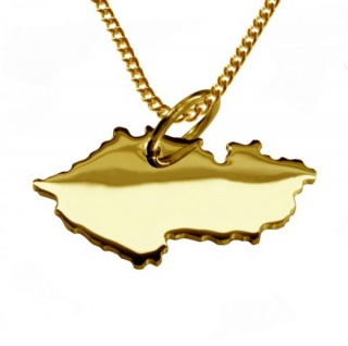 TSCHECHIEN Kettenanhänger aus massiv 585 Gelbgold mit Halskette
