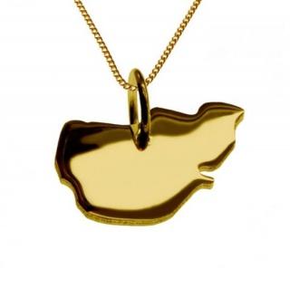 PELLWORM Kettenanhänger aus massiv 585 Gelbgold mit Halskette