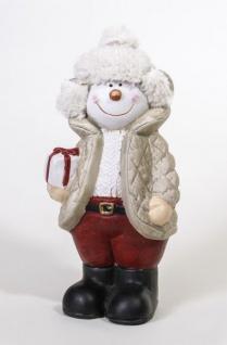 Deko-Figur Schneemann mit Geschenk im Arm, stehend, rot braun
