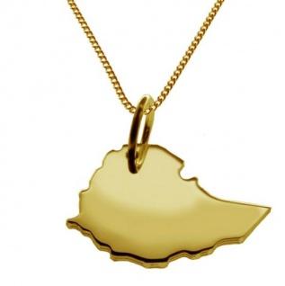 ÄTHIOPIEN Kettenanhänger aus massiv 585 Gelbgold mit Halskette