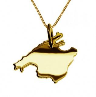 MALLORCA Kettenanhänger aus massiv 585 Gelbgold mit Halskette