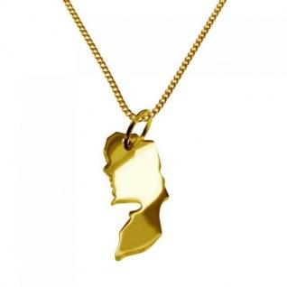 PALÄSTINA Kettenanhänger aus massiv 585 Gelbgold mit Halskette