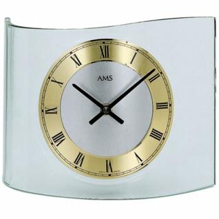 AMS 130 Tischuhr Quarz, geschwungenes Mineralglas, Metallzifferblatt