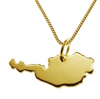 ÖSTERREICH Kettenanhänger aus massiv 585 Gelbgold mit Halskette