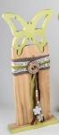 Deko-Ständer mit Schmetterling aus Holz in Grün Braun, 38 cm