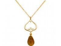 Halskette Anhänger 925 Silber Vergoldet Lotus Blume Citrin Gelb YOGA