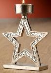 GILDE Kerzenhalter Stern aus Aluminium mit Spiegelmosaik, 17 cm