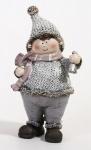 Winterkind Junge stehend mit Glocke in der Hand, 16 x 9 x 6, 5 cm