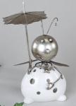 formanao Windlicht Käfer mit Sonnenschirm, weiß silber, 25 cm