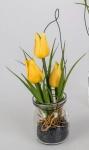 formano Kunstblume gelbe Tulpen im Glas, 3 Stück, 17 cm