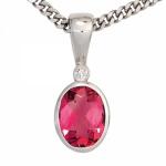 Anhänger 585 Weißgold 1 rosa Turmalin 1 Diamant 0, 01ct.