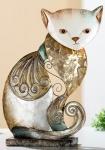 GILDE Dekofigur Katze byzantini mit Spiegelmosaik, 8 x 17 x 16 cm