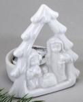 formano weißer Teelichtleuchter Krippe aus Porzellan, 10 cm