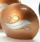 GILDE Diskus-Kerze in Kupfer mit Strass-Steinen, 4 x 9 x 8 cm