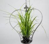 Blumenampel Herz aus Metall, grau 40 cm