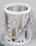 formano Windlicht aus Birkenrinde, Stern, mit Glaseinsatz, 16 cm