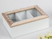 Nostalgische Deko Dose aus Holz in Weiß Creme, 22 x 16 cm