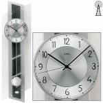 AMS 5217 Wanduhr Funkwanduhr mit Pendel silbern Glas und Schiefer