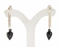 Schwarzer Granat Tropfen Ohrringe Silber
