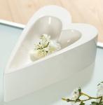 Deko-Schale in Herzform creme glasiert, 29 cm