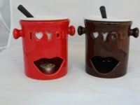 2er Fondue-Set love aus Keramik