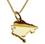 MONTENEGRO Kettenanhänger mit Brillant aus 585 Gelbgold mit Halskette
