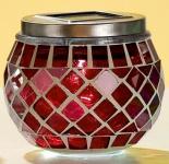 GILDE Solar Windlicht mit LED, Mosaikglas in Rot, 9 x 10 cm