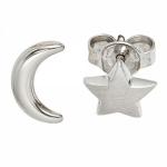 Ohrstecker Mond Stern 925 Sterling Silber rhodiniert teilmattiert