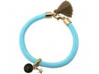 Armband 925 Silber Vergoldet Edelstein Rauchquarz Stern Blau Braun