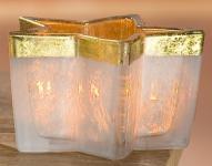 GILDE Windlicht Stern in Creme Gold aus Glas, 12, 5 x 13 x 10 cm