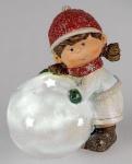 Winterkind als Teelichthalter Erna mit Schneeball, rot weiß, 12 cm