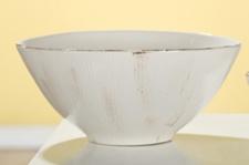GILDE Dekoschale Rigato, creme braun glasiert, 10 x 21 cm