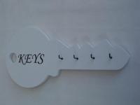 Schlüsselbrett aus Holz in Weiß mit schwarzer Schrift KEYS, 30 cm