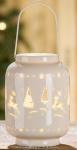 GILDE Windlicht Elch und Tannenbaum aus Porzellan mit LED 9 x 13 cm